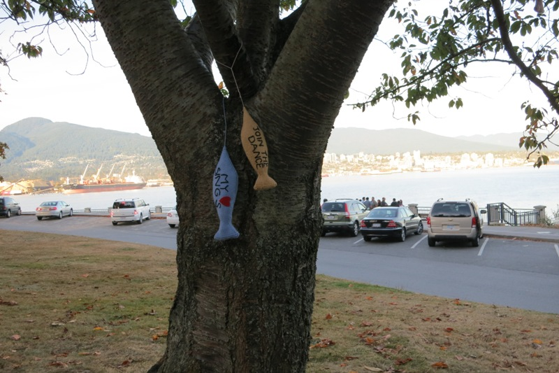 7 Oct Blue fish have been hung across the trunk