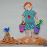 Bobby on the Beach - papier mache, with acrylic paint, stones and shells
