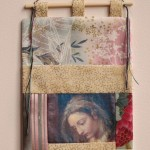 Madonna pocket - photo transfer, appliquéd fabrics with wooden rod and yarn.