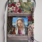 Madonna pocket - photo transfer, appliquéd fabrics with wooden rod and ribbon.