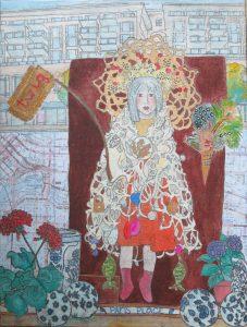 Paris Place Madonna   Mixed media on canvas 16 x 12   $400
