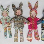 Rabbit Girls - papier mache with art papers, hand painted and printed papers, printing inks, acrylics