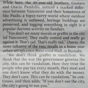 what otavia and gustavo pandolfo say in the georgia straight